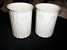 PAIR OF FINEST WHITE JAPANESE PORCELAIN BEAKERS TWIST PATTERN 3.5""